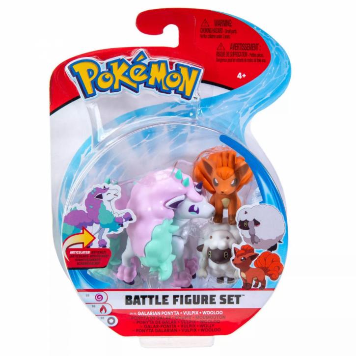 Pokemon Battle Figure Set - Galarian Ponyta, Vulpix und Wooloo