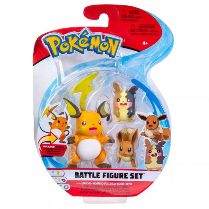 Pokemon Battle Figure Set - Raichu, Morpeko und Evoli