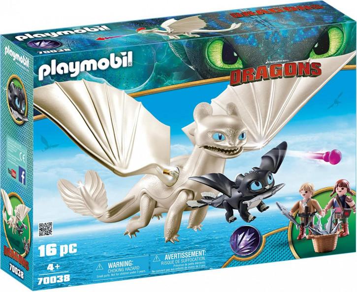 Playmobil - DreamWorks Dragons 70038 - Tagschatten und Babydrachen mit Kindern