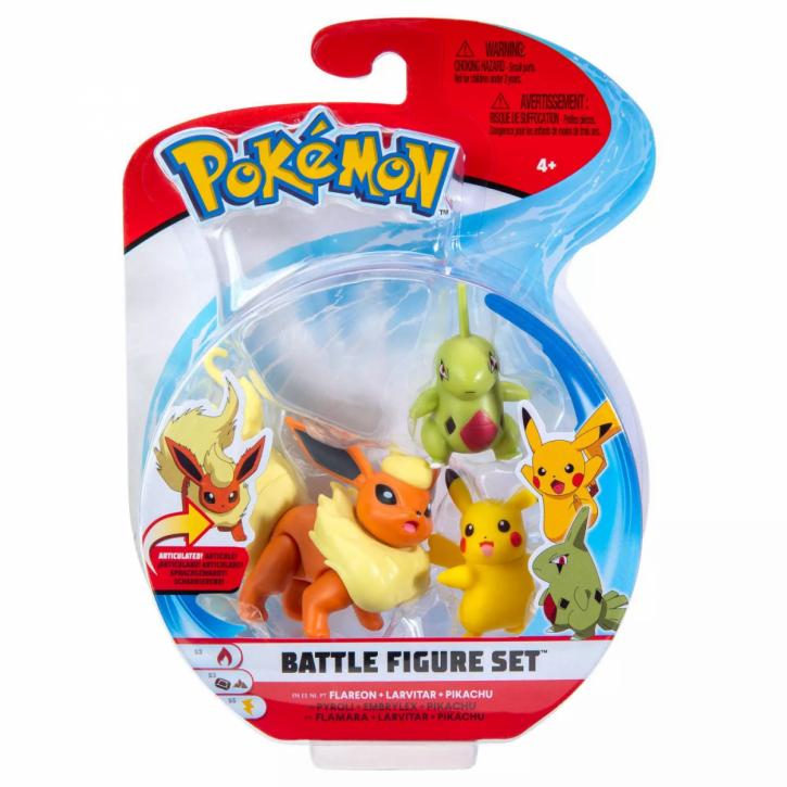 Pokemon Battle Figure Set - Flamara, Larvitar und Pikachu