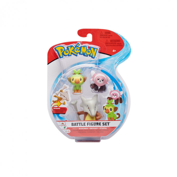 Pokemon Battle Figure Set - Knogga, Chimpep und Velursi