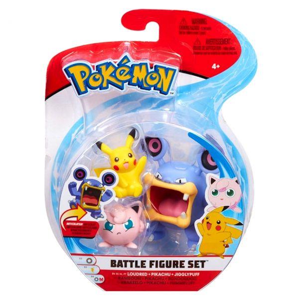 Pokemon Battle Figure Set - Krakeelo, Pikachu und Pummeluff