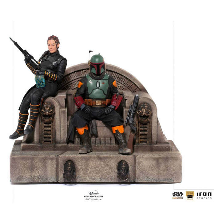 Star Wars The Mandalorian Deluxe Art Scale Statue - Boba Fett & Fennec on Throne